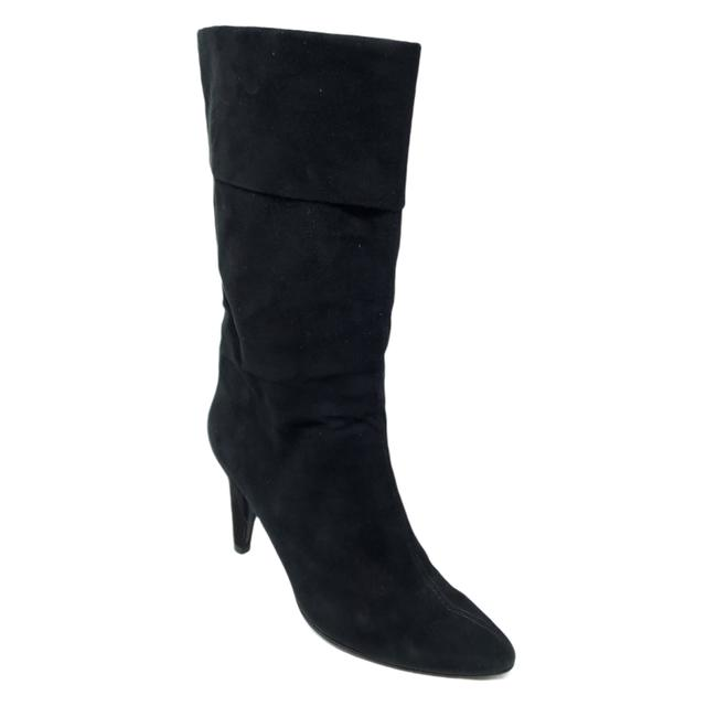 Item - Black Suede Leather Cone Heel Mid Calf B Boots/Booties Size US 7.5 Regular (M, B)