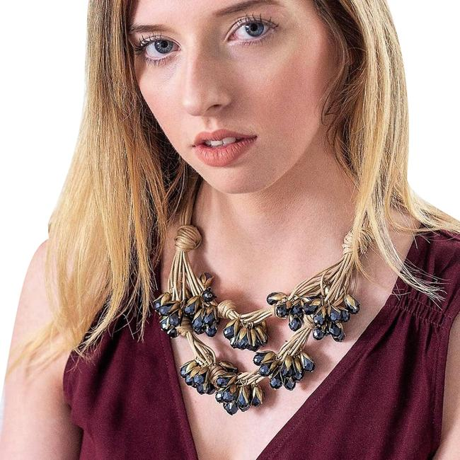 Item - Tan Dramatic Knotted Crystal Strand Statement Necklace