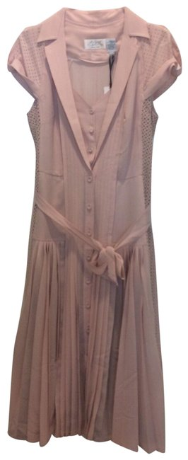 Item - Blush Laser Cut Pleated Fit & Flare Mid-length Work/Office Dress Size 8 (M)