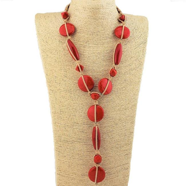 Item - Tan Suede Wrapped Red Howlite Boho Necklace