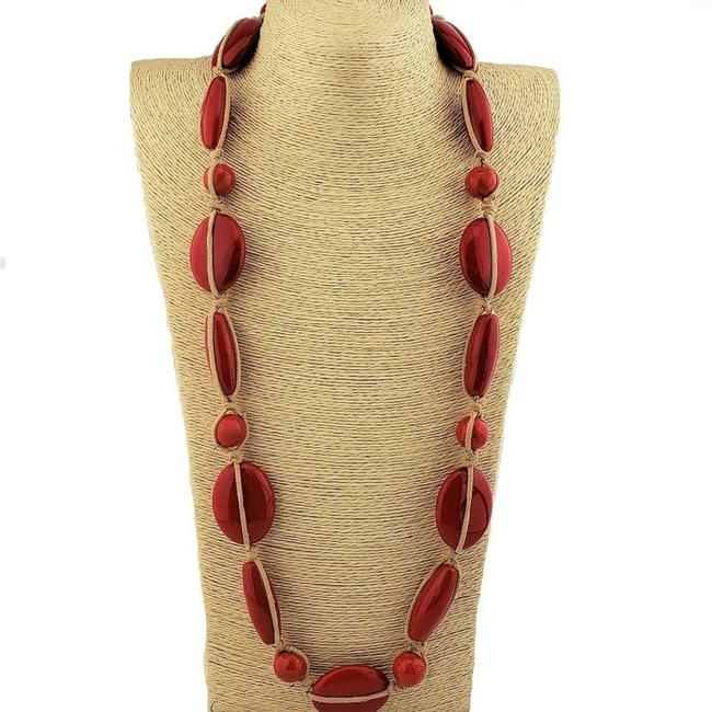 Item - Tan Suede Wrapped Red Howlite Chunky Boho Necklace