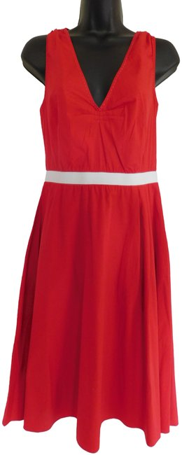 Item - Red/White Fit and Flare Two-tone Midi Mid-length Short Casual Dress Size 12 (L)