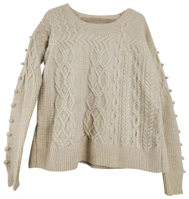 Item - Cable Knit Pom Pom Crew Neck Long Sleeve Side Slit Tan Sweater