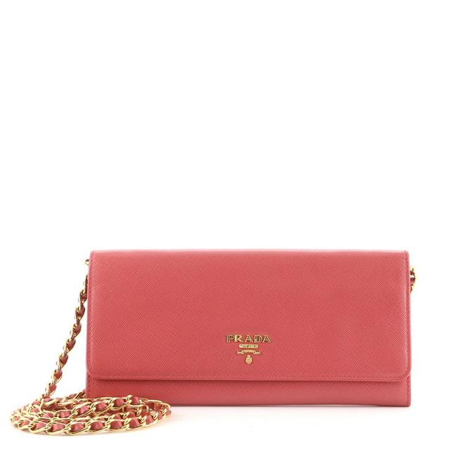 Item - Wallet on Chain Saffiano Pink Leather Cross Body Bag