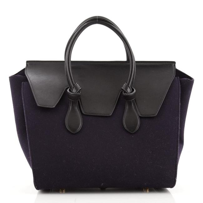 Item - Tie Knot and Small Black Blue Leather Felt Tote