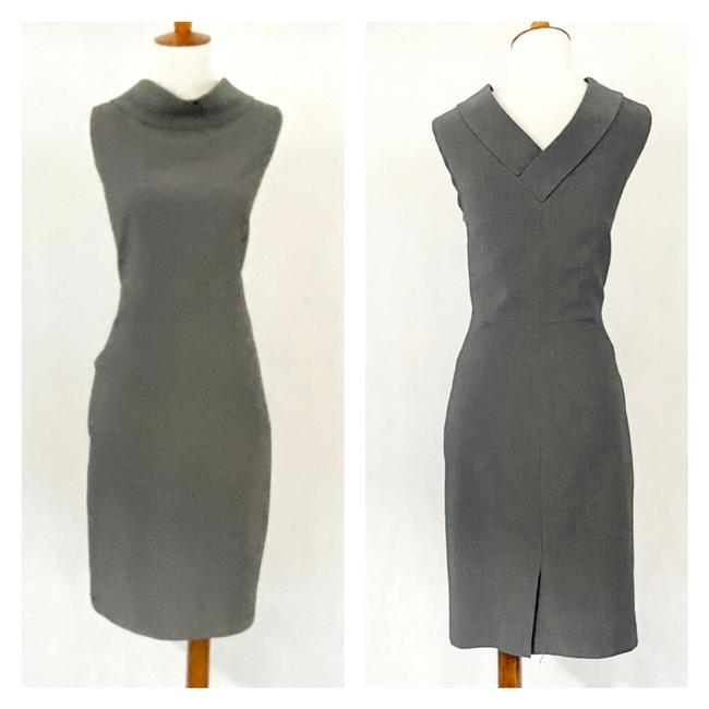 Item - Gray Cowl Neck Sheath Mid-length Work/Office Dress Size 10 (M)