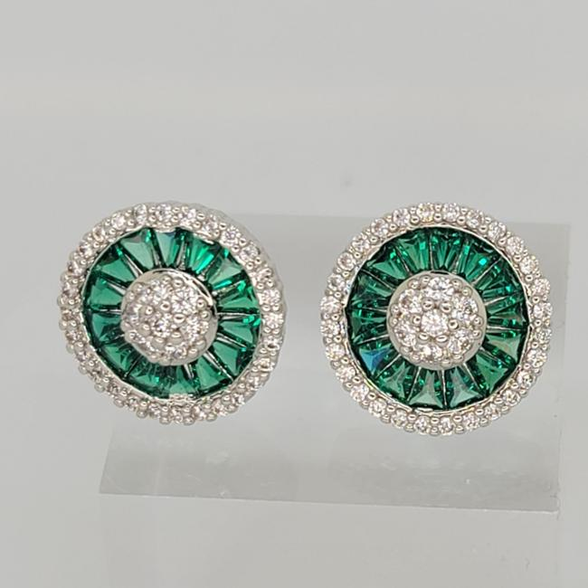Item - Green White Silver Classic Simulated Emerald Button Stud Earrings