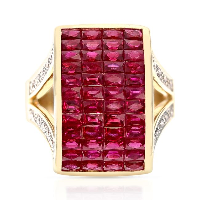 Item - Invisible-set Ruby and Diamond Cocktail 18k Yellow Gold Ring