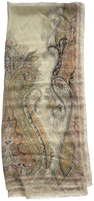 "Item - Beige W Paisley Printed 66"" Sheer Silk W/ Fringed Edge Scarf/Wrap"