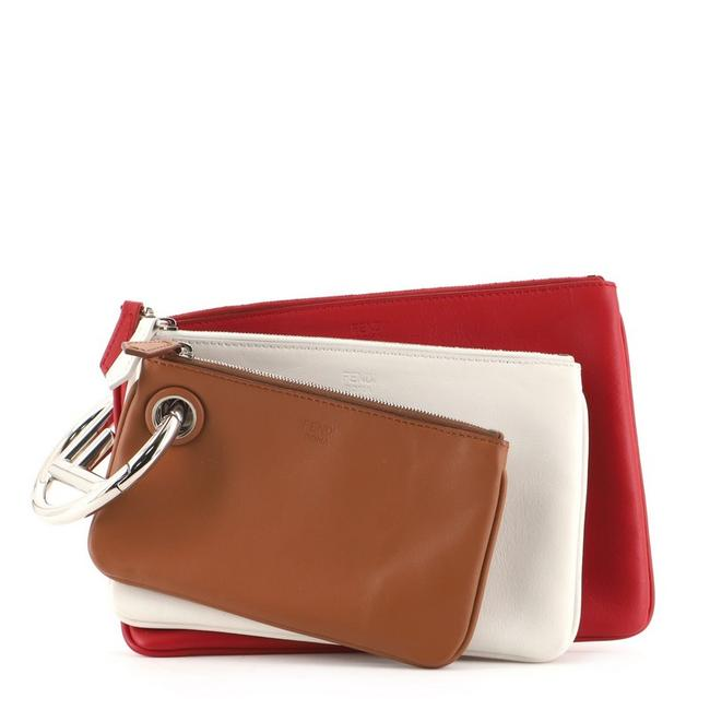 Item - Triplette Pouch Set Calfskin Brown Red White Leather Clutch