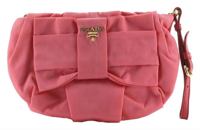 Item - Bow Wristlet Pouch Tessuto Small Pink Nylon Clutch