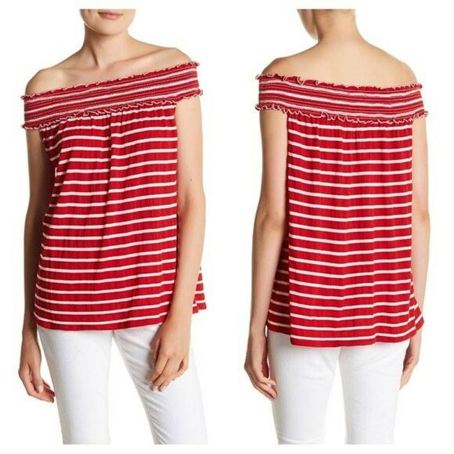Item - Red L Shirt Off The Shoulder Gauze Stripe Blouse White New Tunic Size 12 (L)