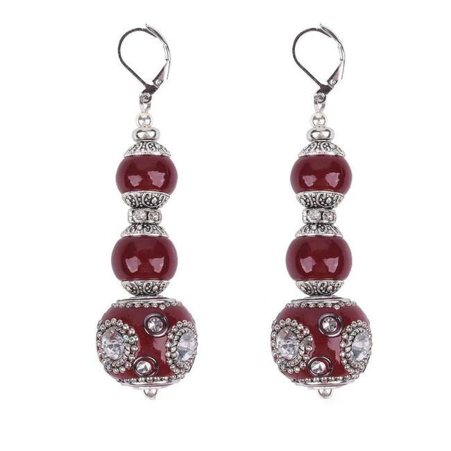 Item - Red Graduated Chunky Ruby Lampwork Statement Earrings