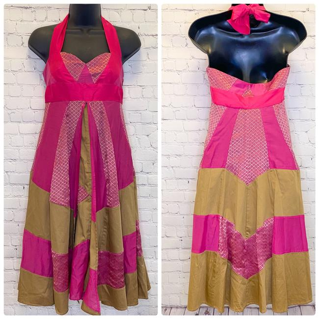 Item - Pink Gold 'kylie' Colorblock Pattern Halter Mid-length Night Out Dress Size 0 (XS)