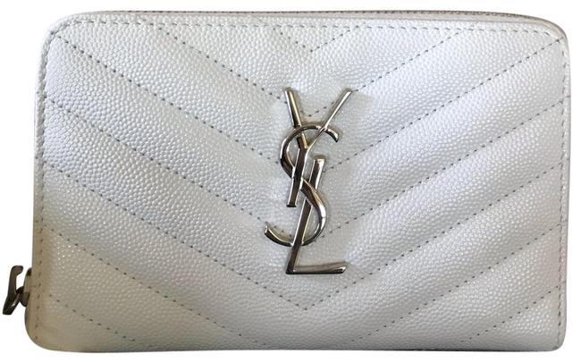 Item - Cream White Small Ysl Textured Zip French Wallet