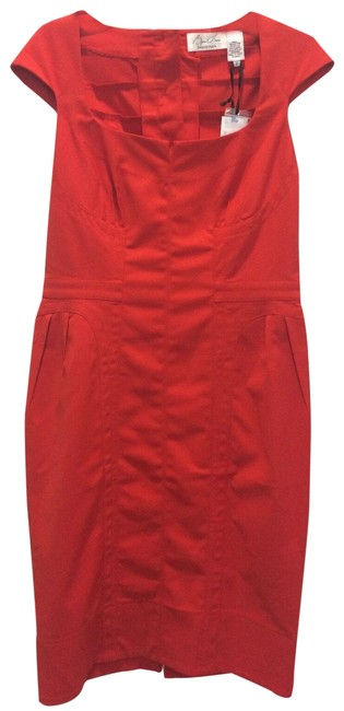 Item - Red Button-back Cap-sleeve Work/Office Dress Size 8 (M)