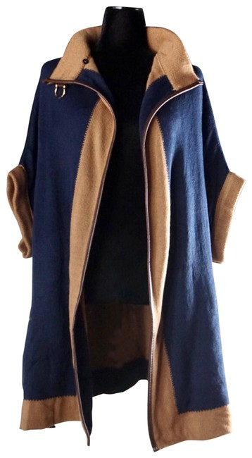 Item - Navy Blue Two Knit Buckle New Poncho/Cape Size OS (one size)