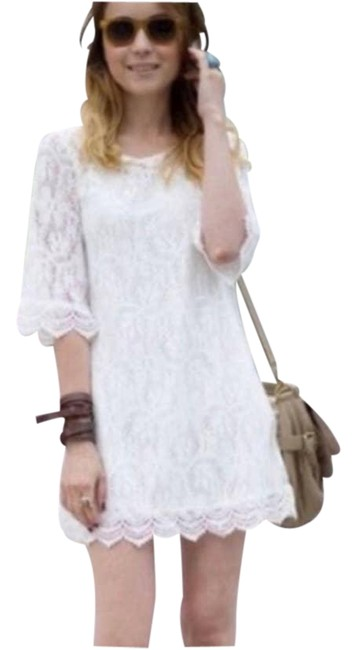 Item - Cream Divided Lace Lined 3/4 Sleeves Stretch New Short Night Out Dress Size 12 (L)