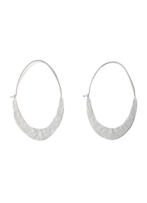 Item - Silver Crescent Moon Oval Earrings