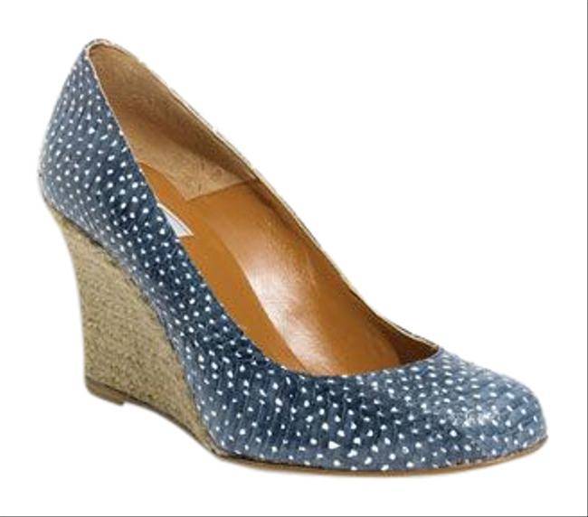 Item - Blue and White Spotted Genuine Snakeskin Espadrille Wedges Size EU 36 (Approx. US 6) Regular (M, B)