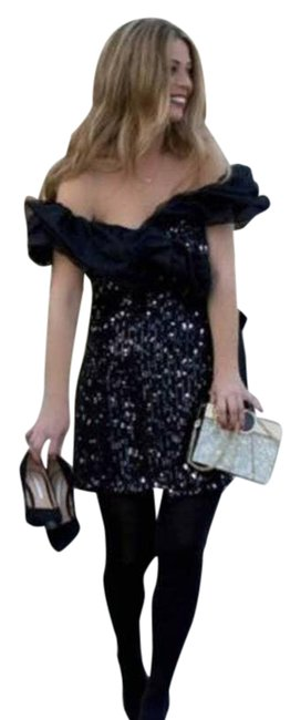 Item - Black XS W Combination Sequin Ruffles Ref 2731/293 Night Out Dress Size 2 (XS)