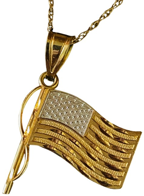 Item - Yellow Gold White Gold 14k American Flag Solid God Bless America Necklace