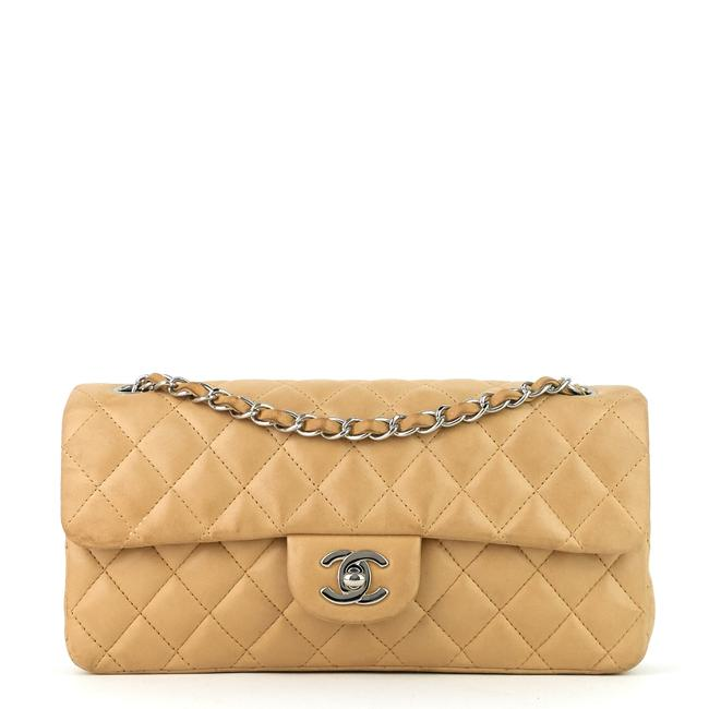 Item - Classic Flap East West Quilted Beige Lambskin Leather Shoulder Bag