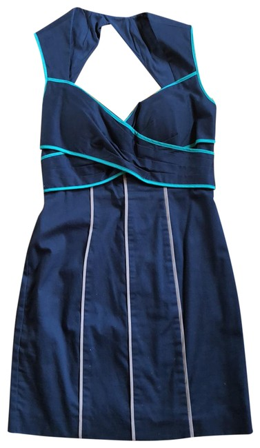 Item - Navy Fitted Short Cocktail Dress Size 6 (S)