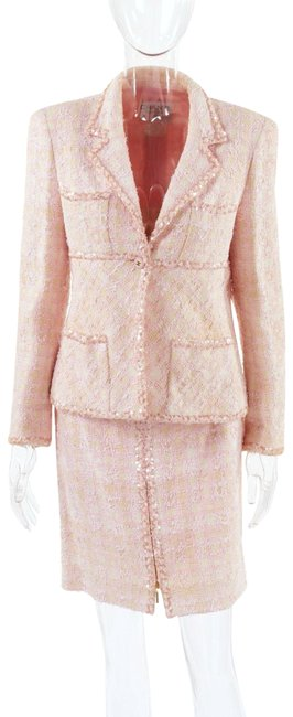 Item - Pink White Fantasy Tweed 1995 Jacket Barbie Vintage Rare Skirt Suit Size 6 (S)