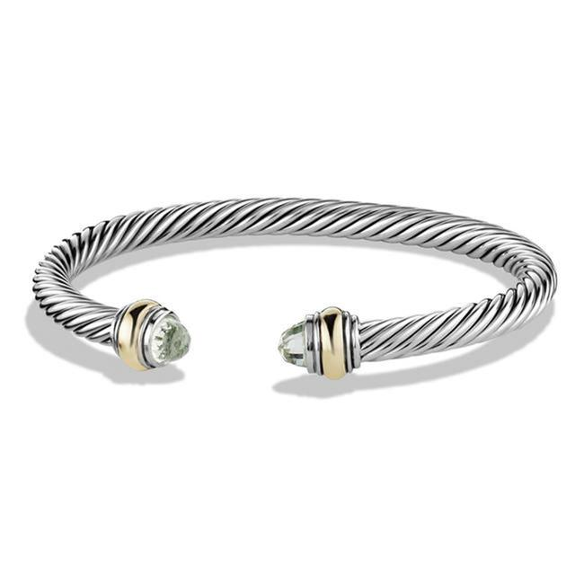 Item - Green Silver Cable Classic Prasiolite & Yellow Gold Bracelet