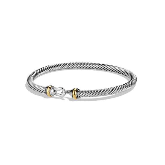 Item - White Yellow 5mm Sterling Silver 18k Gold Cable Buckle Bracelet