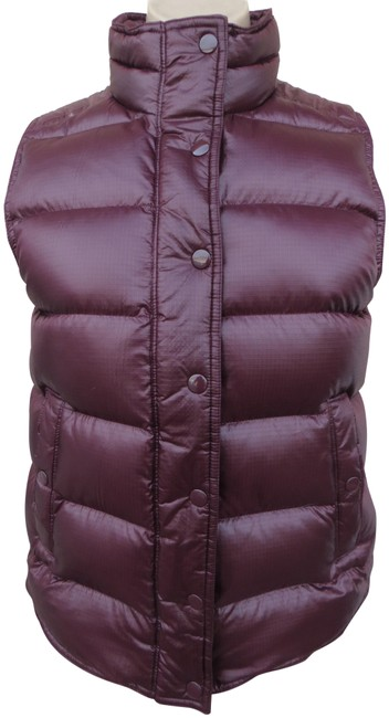 Item - Burgundy XS Quilted Funnel Neck Zip Front Down Vest Size 2 (XS)