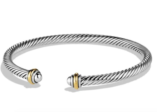 Item - White Yellow Sterling Silver Cable Classic 18k Gold Bracelet