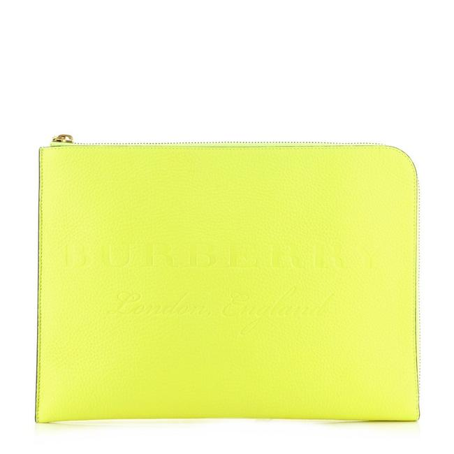 Item - Zip Around Pouch Embossed Large Yellow Leather Clutch