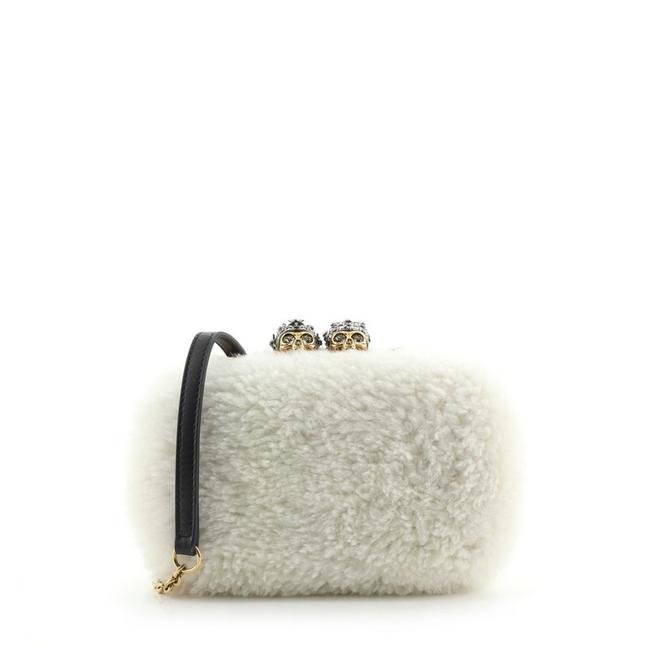 Item - Box Skull Convertible Small White Shearling Wool Clutch