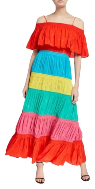 Item - Red Green Pink Smocked Cold Shoulder Multicolored Maxi Long Cocktail Dress Size 4 (S)