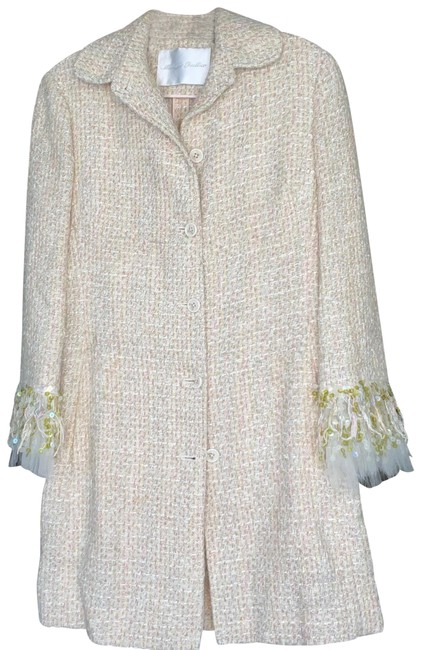Item - Creme/Light Tan with Pink Green Yellow Threads Cotton-blend Tweed Embellished Sleeves Jacket Size 4 (S)