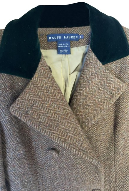 Item - Brown with Green Tan Threads Classic Double Breasted Tweed Coat Size 4 (S)