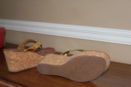 Tory Burch Cork Summer Gold and Tan Wedges Image 2