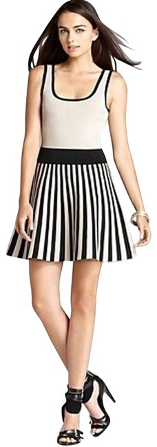 Item - Tan and Black Sleeveless Scoop Neck Striped A Line Short Cocktail Dress Size 8 (M)