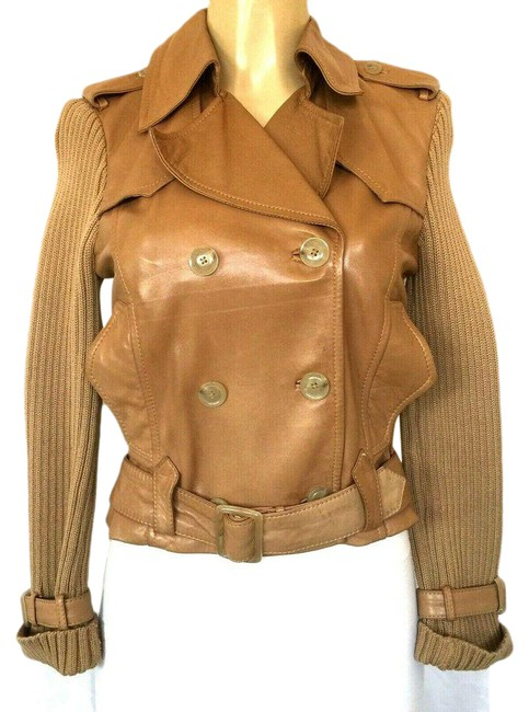 Item - Brown Beige Wool Belted Double Breasted Jacket Size 4 (S)