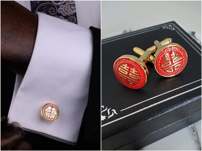 Item - Red Gold Chinese Double Happiness Double Happy Plated Round Cufflinks/Studs
