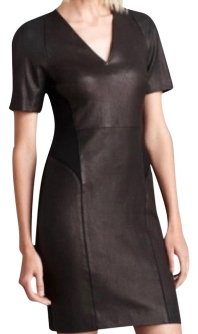 Item - Black Leather Mid-length Short Casual Dress Size 10 (M)