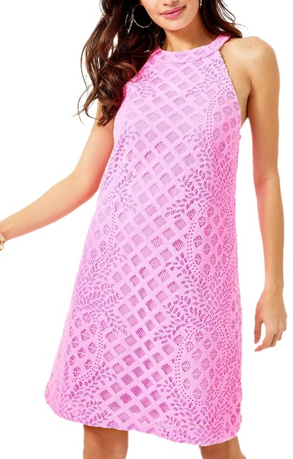 Item - Pelican Pink Pineapple Geo Lace Rayanne Shift Cocktail Dress Size 4 (S)