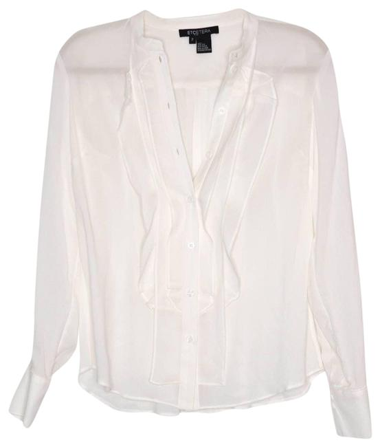 Item - Cream Button Front Bibbed Silk Ivory Blouse Size 2 (XS)