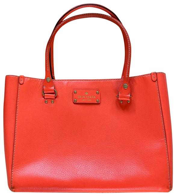 Item - Handbag with Canvas Interior with Dustbag Neon Orange/Coral Leather Tote