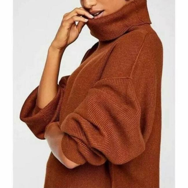 Item - Softly Structured Knit Tunic Brown Sweater