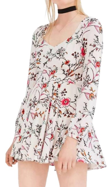 Item - White Ecote Rosalinda Floral Long-sleeve Short Casual Dress Size 4 (S)