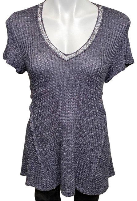 Item - Gray Metallic Thread Rhinestone Blouse Size 10 (M)