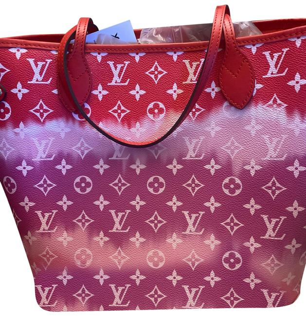 Item - Never Full Mm Red Pink White Genuine Leather Tote